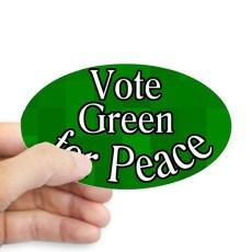 vote_green_for_peace_oval_bumper_sticker